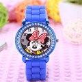 Nova Moda Mickey Mouse Dos Desenhos Animados Crianças Relógio de Pulso Silicone Sports Watch Ladies Rhinestone Dress Watch relogios
