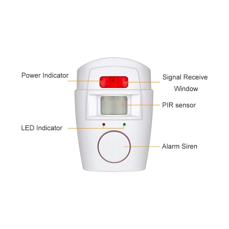 Trådløs PIR / bevægelsesføler alarm + 2 fjernbetjeninger Alarm - Sikkerhed og beskyttelse - Foto 6