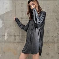 Sexy Sleepwear for Women Casual Sleepshirts Long Sleeve Solid Nightgowns Turn down Collar Womens Nightwear Nightdress MA50142