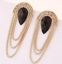 New Gold Plated Long Tassel Earrings for Women Fashion Water Drop Resin Earring Gold Plated Luxury Big Earrings Gift Jewelry