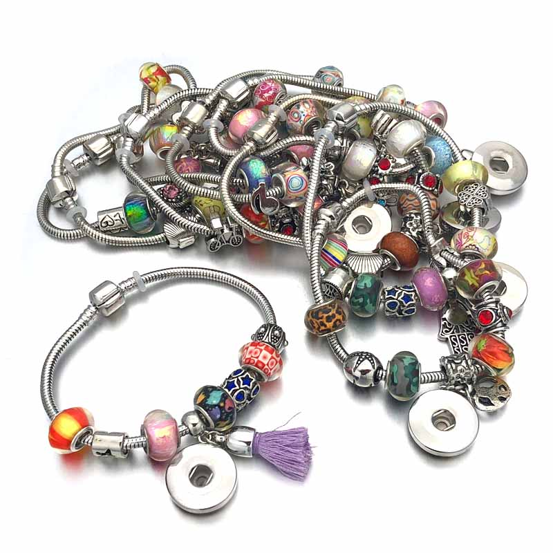 Mixed Sale Crystal New Arrival 187 Bead Fashion 18mm Snap Button Bracelet Interchangeable Charm Jewelry For Women Christmas Gift