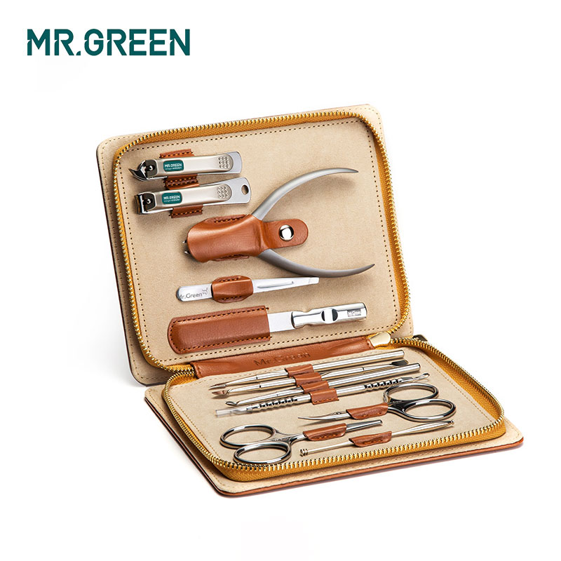 MR GREEN 12 in1 Manicure Set Stainless Nail Clippers Cuticle Utility Manicure Set Tools Nail Care