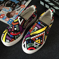 2017 New Spring Fashion Graffiti Print Canvas Shoes Casual Platform Flat Shoes Woman Slip On Flats Women Loafers Sapato Feminino