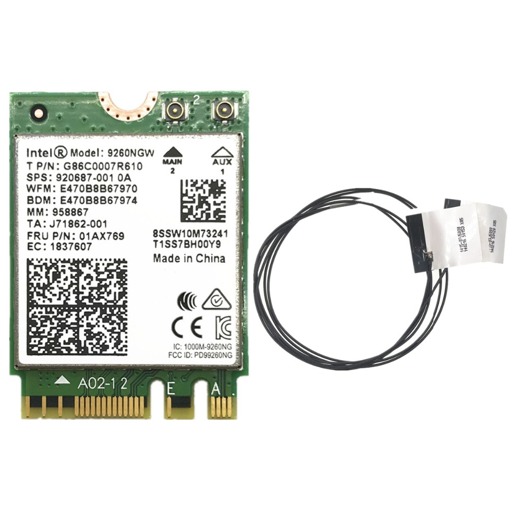 With 2pcs Antennas + 1.73Gbps Wireless 9260NGW NGFF Wifi Card For Intel Ac 9260 2.4G/5Ghz 802.11ac Bluetooth 5.0(China)