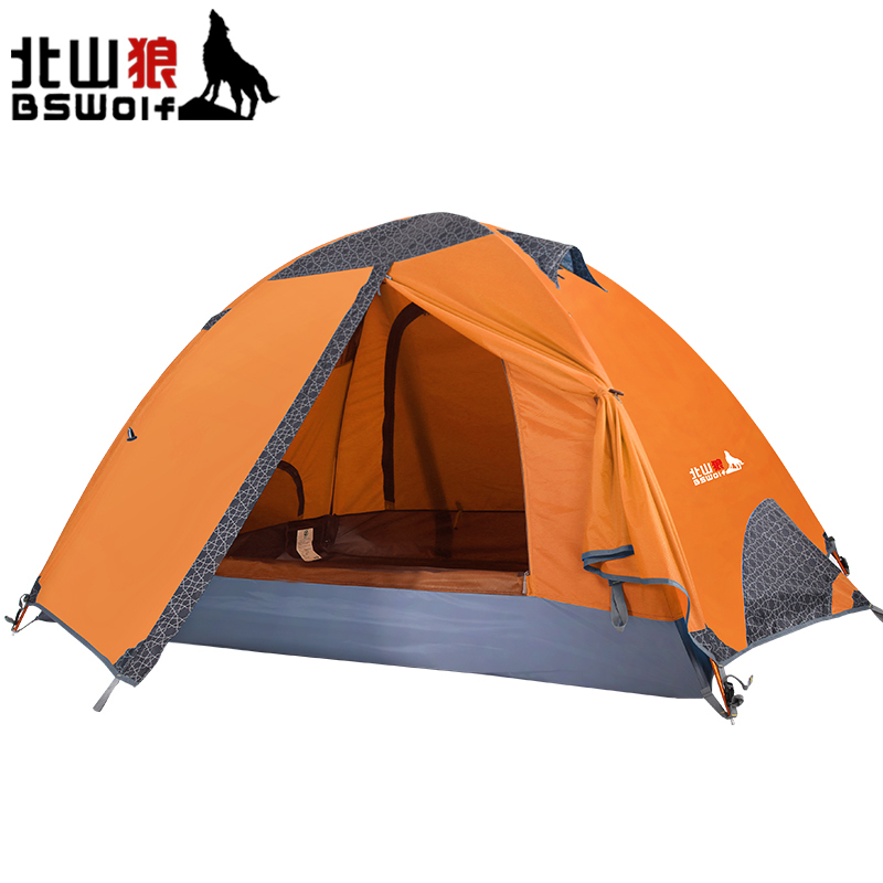 BSWolf 2 Person Outdoor Portable Camping Tent 210T Polyester Double Layer Adult Travel Hiking Waterproof Tent Outdoor Accessorie mobi outdoor camping equipment hiking waterproof tents high quality wigwam double layer big camping tent