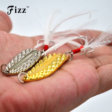 Glow in dark fishing leeches metal spoon lure with feather night lures 3.5g 5g 7g 10g 15g 20g tackle