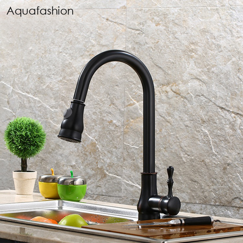 Kitchen Faucet Brass Pull Out Kitchen Sink Faucet Black Oil Rubbed Bronze Cold And Hot Kitchen Mixer Tap Robinet Cuisine