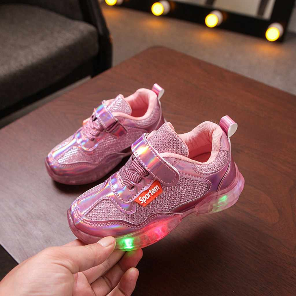 Toddler Girl Shoes Kid Baby Girls Boys Letter LED Shoes Luminous Sport Run Kids Sneakers Casual Children Shoes Zapatos De Nina