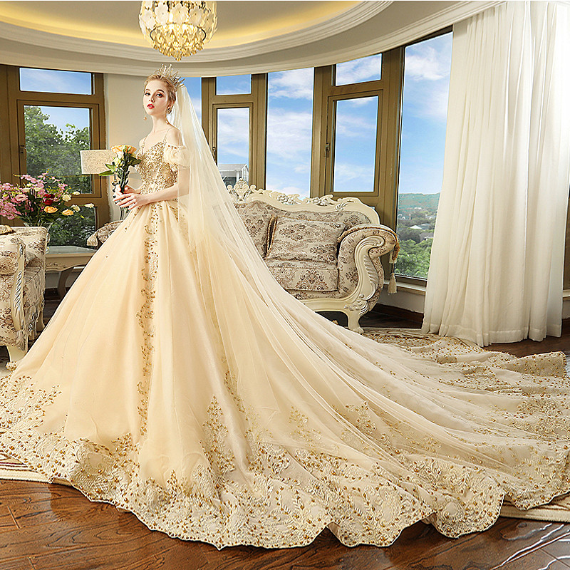 a2a35bc8eb6 Pregnancy Maternity Dresses Wedding Pregnant Bride Married Slim Champagne  Dream Princess Bling Bling Luxury Robe De Mariage-in Dresses from Mother    Kids on ...