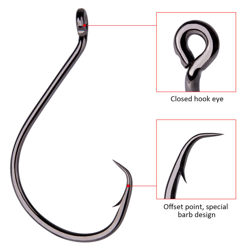 Goture 50 piece/lot Offset Fishing Hooks Mustad High Carbon Steel Saltwater Jigging Hook Octopus Circle Hooks Size 1/0 - 10/0