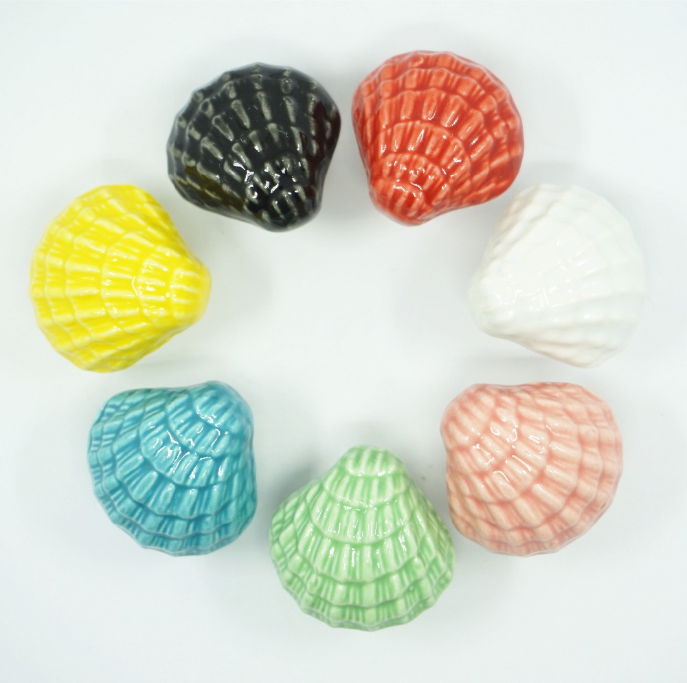 Cute Shell Knobs Ceramic Drawer Knob Pulls Kids Colorful Dresser Handle Pull Kitchen Cabinet Door Knob Child Blue Green ceramic drawer kitchen cabinet handle knob bronze dresser cupboard door pull knob antique brass furniture wood door handles knob