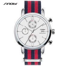 SINOBI 2017 Quartz Sports Watches Men Nylon Auto Date Watch Military Multi-Function Wristwatch Reloj Hombre Uhren Damen SW03