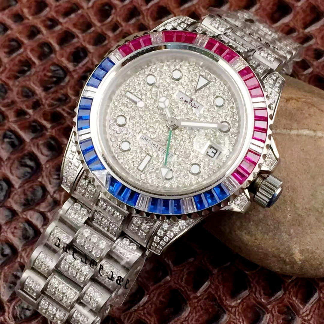 Luxury Brand New Men Silver Red Blue Bezel Full Diamonds Watch Automatic Mechanical Stainless Steel Sapphire Glass GMT WatchesLuxury Brand New Men Silver Red Blue Bezel Full Diamonds Watch Automatic Mechanical Stainless Steel Sapphire Glass GMT Watches