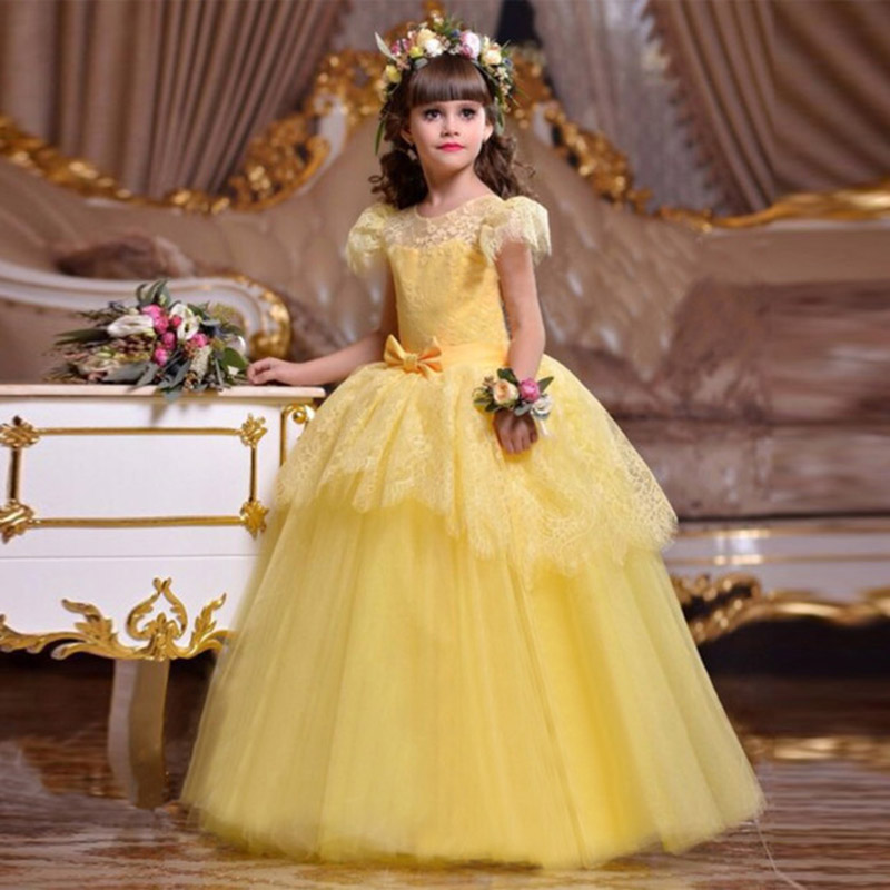 Princess Ball Gown Long White Flower Girl Dresses 2019 Soft Tulle First Communion Dresses Girls Pageant Dress Kids Prom Dress