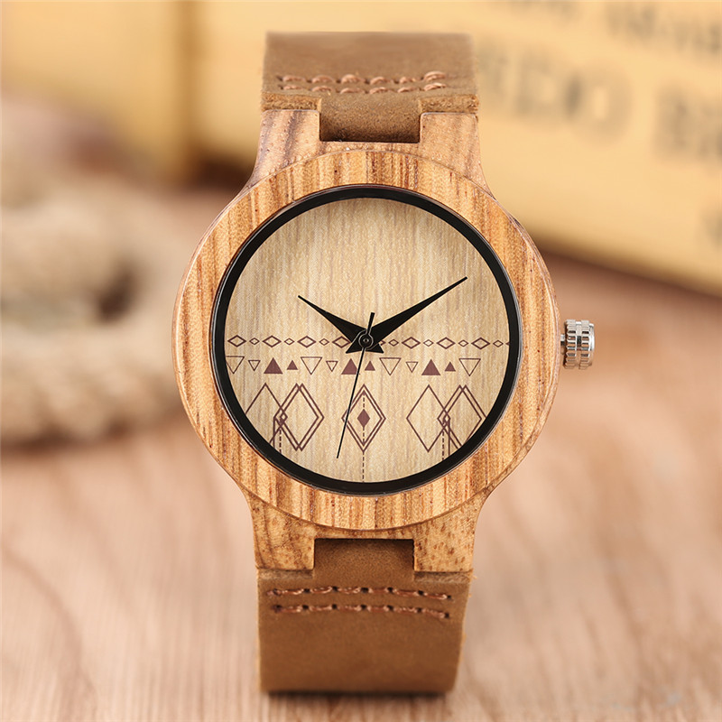 2017 New Arrival Lovely Ladies Quartz Wristwatch Hand-made Wooden Case Geometric Patterns Dial Genuine Leather Band Women Watch new arrival bamboo men wristwatch classic arabic number dial genuine leather band strap trendy gift quartz watch