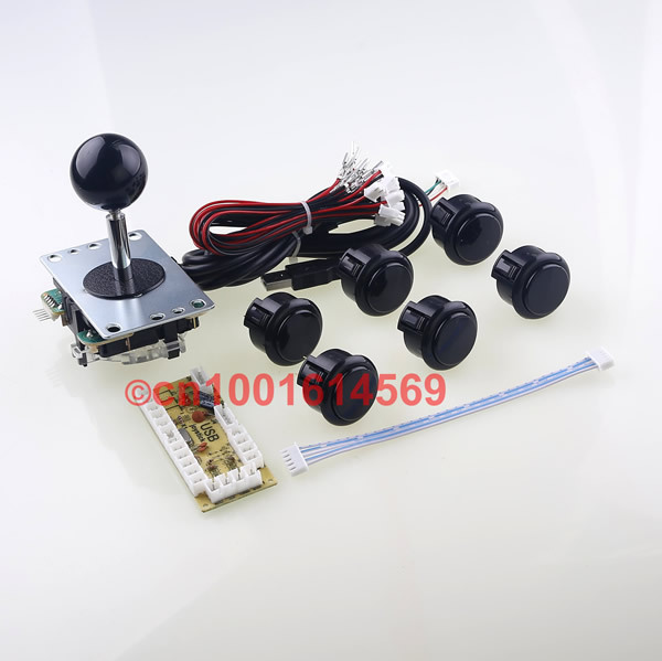 New Mini Arcade Machines DIY Kits Parts 8 Way Sanwa Stick Wires + 6 x Sanwa Push Buttons Cables + USB PC Encoder Board - Black цены онлайн