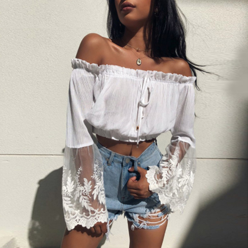 Women Crop Tops Fashion Ladies Long Sleeve Loose <font><b>T</b></font> Shirts Summer 2019 Beach Casual Off Shoulder <font><b>Sexy</b></font> Lace TShirt Boho <font><b>Haut</b></font> <font><b>Femme</b></font> image