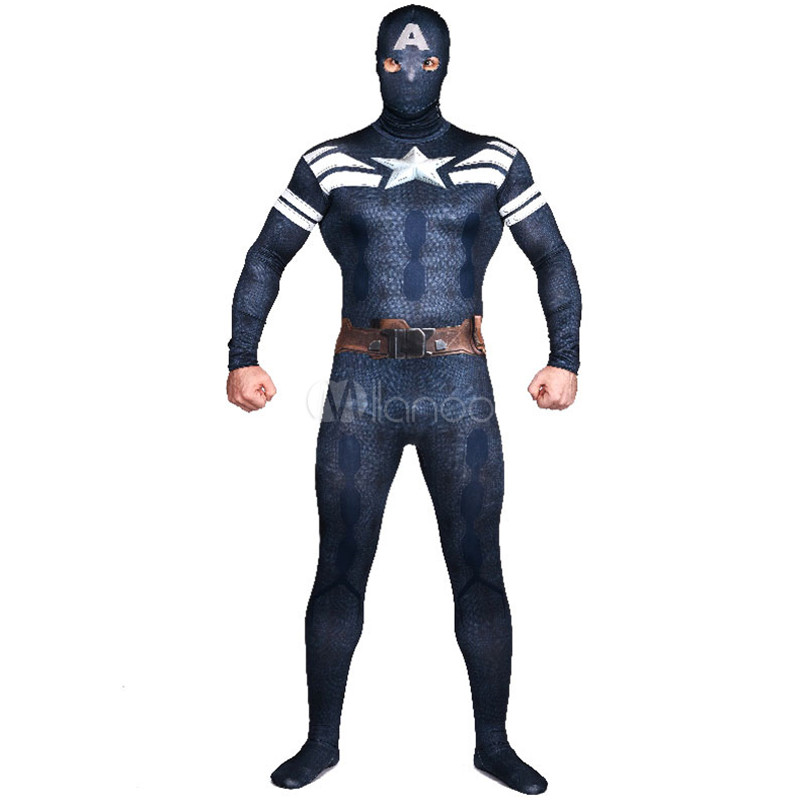 High Quality Mens Adult Captain America Halloween Costumes Lycra Spandex Anime SuperHero Cosplay Costume Zentai Bodysuit Suits