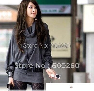 Women's Long Sleeve T-shirt Top Mini Dress Ruff Neckline Sexy 2 Colors#5117