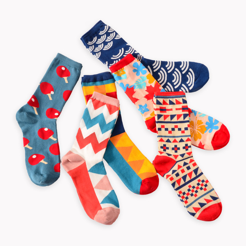 Free Shipping Fashion Happy   Socks   British Wind Geometric Hit Color Personality Couple Male Cotton Sox Women   Socks   Calcetines