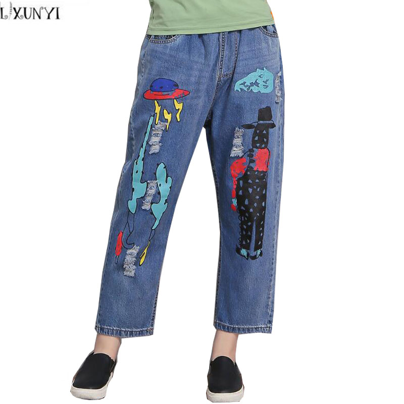 2017 Women's jeans With High Waist Ankle length Pants Women Printed jeans Casual Straight Loose Hole Wide leg Pants Plus Size plus size casual loose wide leg pants summer new women s boyfriend spliced holes blue jeans high waist ankle length trousers