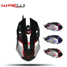 WarWolf Metal Bottom Mouse without Sound 6 Buttons Optical Professional Mouse Mice Custom Macro Programming Function