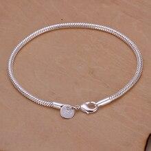Серебряный позолоченный браслет, свадебные ювелирные изделия, аксессуары, модное серебряное кольцо 3 м цепочка из змеиных костей Браслеты браслет