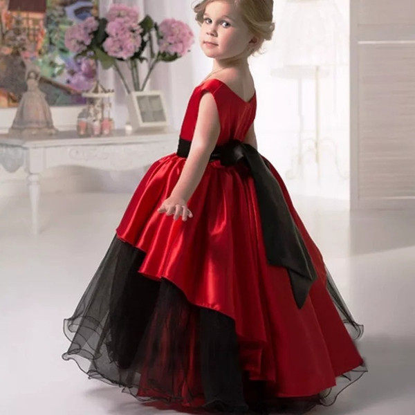 2019 Red and Black Gothic   Flower     Girl     Dresses   Ball Gown Sleeveless Vintage First Communion   Dresses   for   Girls   robe fille mariage