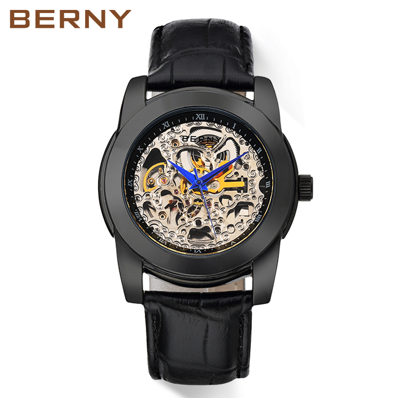 Berny Watch Men Mechanical and Automatic Men's Watches Luxury top Brand relogio masculino kol saati reloj hombre montre homme kol saati new listing montre homme vintage faux leather analog quartz wrist watch mens watches top brand luxury reloj hombre