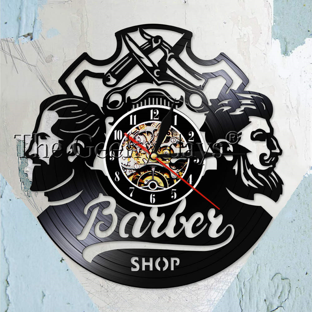 Barber Shop Logo Hair Salon Decor Vintage Vinyl Record Wall Clock Hair Accessories Hairdresser Wall Sign Decorative Wall Watch