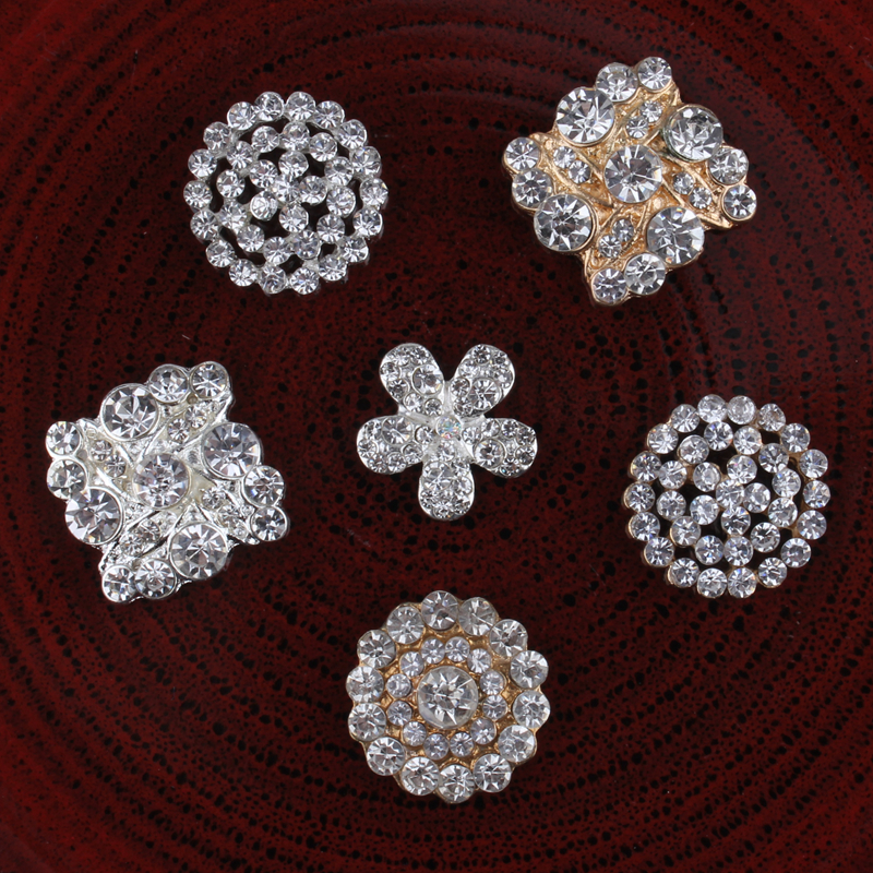 120PCS Hot Fix Vintage Round Metal Rhinestone Buttons Bling Flatback Flower Centre Crystal Pearl Buttons for