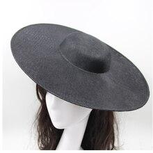 37,5 см большая шляпа база широкая с каймой плоскя Лен DIY Свадьба Коктейльная церковь дамы чародейная шляпа аксессуары DIY материал