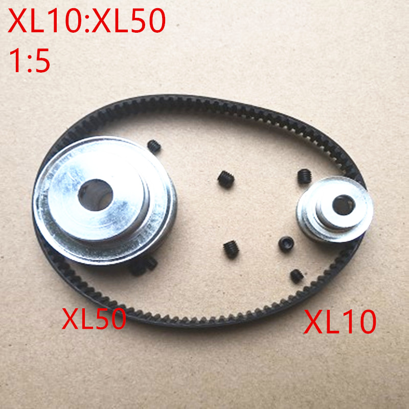 1 pair Timing Belt Pulley XL reduction 1:5/5:1 50T 10T Center Distance 100mm Belt Gear Kit With 144XL Timing Belt Pulley Set