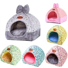 Cat Warm House Cave Lovely Bow Design Puppy Winter Bed Kennel Fleece Soft Nest For Small Medium Dog for cat
