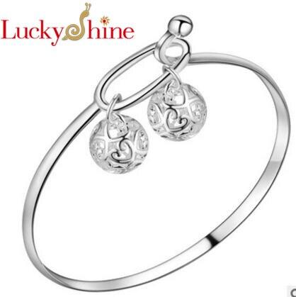 Luckyshine Hot Sell 1Pcs/1Lot Fashion Delicate Unique Style 925 Flower Bangles Russia Australia Silver Bracelets