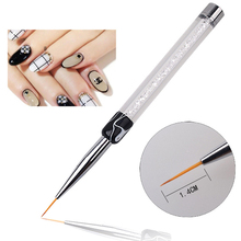цена на 7mm 14mm Crystal Rhinestone Acrylic Brushes Liner Tips Tools Diy Manicure Nail Art Brush UV Gel Polish Painting Drawing Line Pen