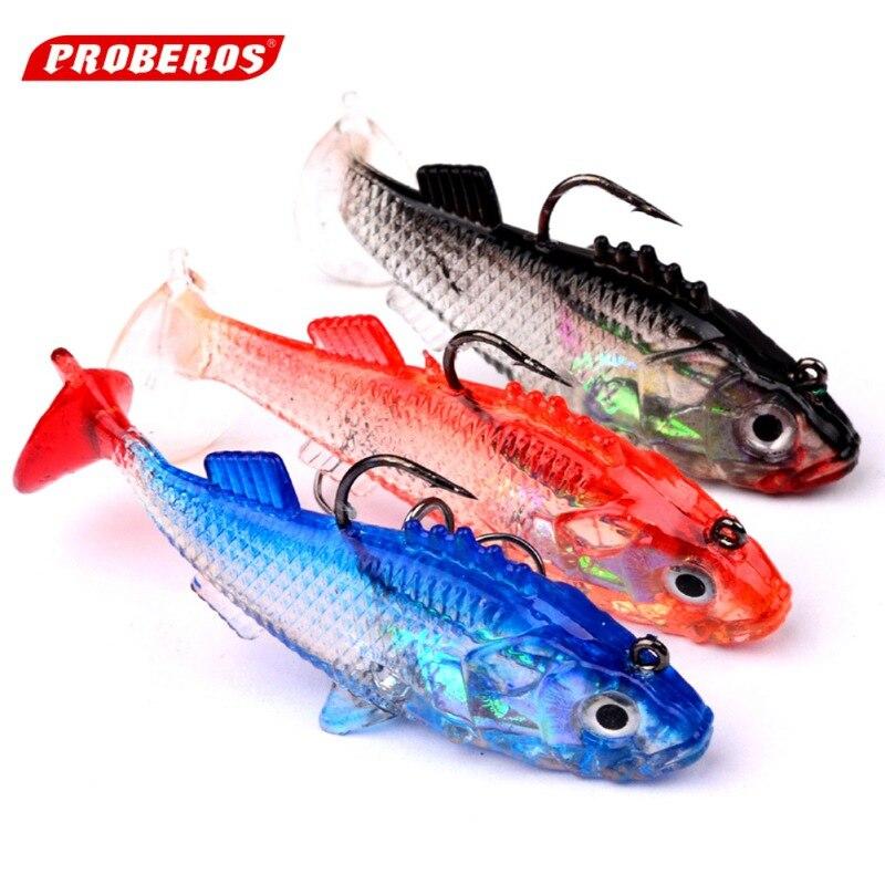 2017 New 5Pcs Soft Fishing Lure Single Hook Baits artificial bait jig wobblers rubber 76mm/16g K5