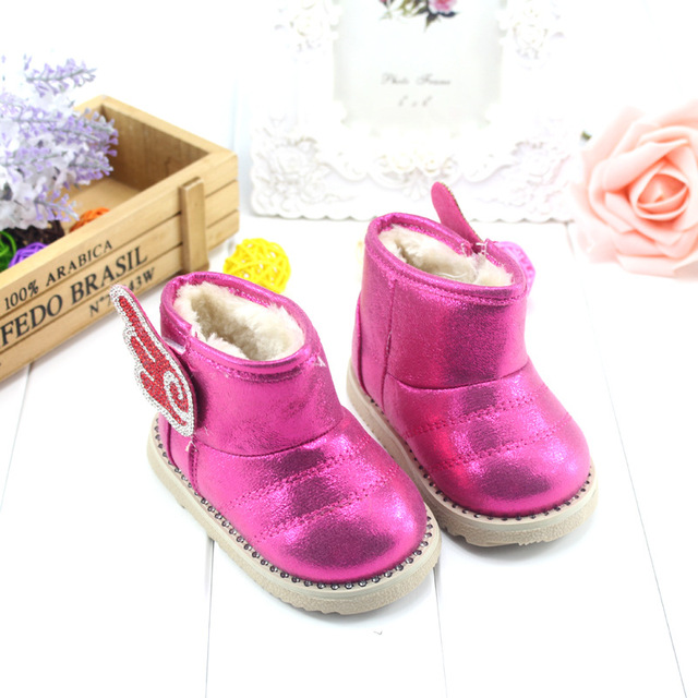 Baby shoes 2017 winter new Korean girls shoes baby girls cotton-padded baby snow boots toddler shoes boots bright diamond wings