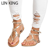 Купить с кэшбэком LIN KING Solid Women Buckle Casual Sandals Cross Tie Flat Ankle Summer Beach Shoes Plus Size Vintage Ladies Gladiator Sandalias
