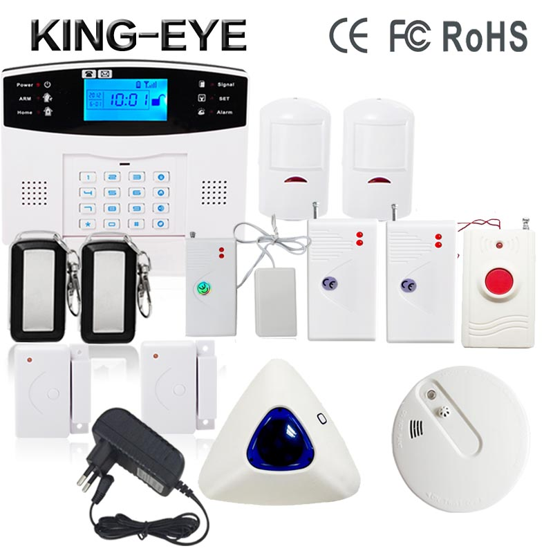 433 MHz LCD display home alarm system wireless gsm smoke detector indoor wireless strobe siren alarm systems security home wireless smoke fire detector for wireless for touch keypad panel wifi gsm home security burglar voice alarm system