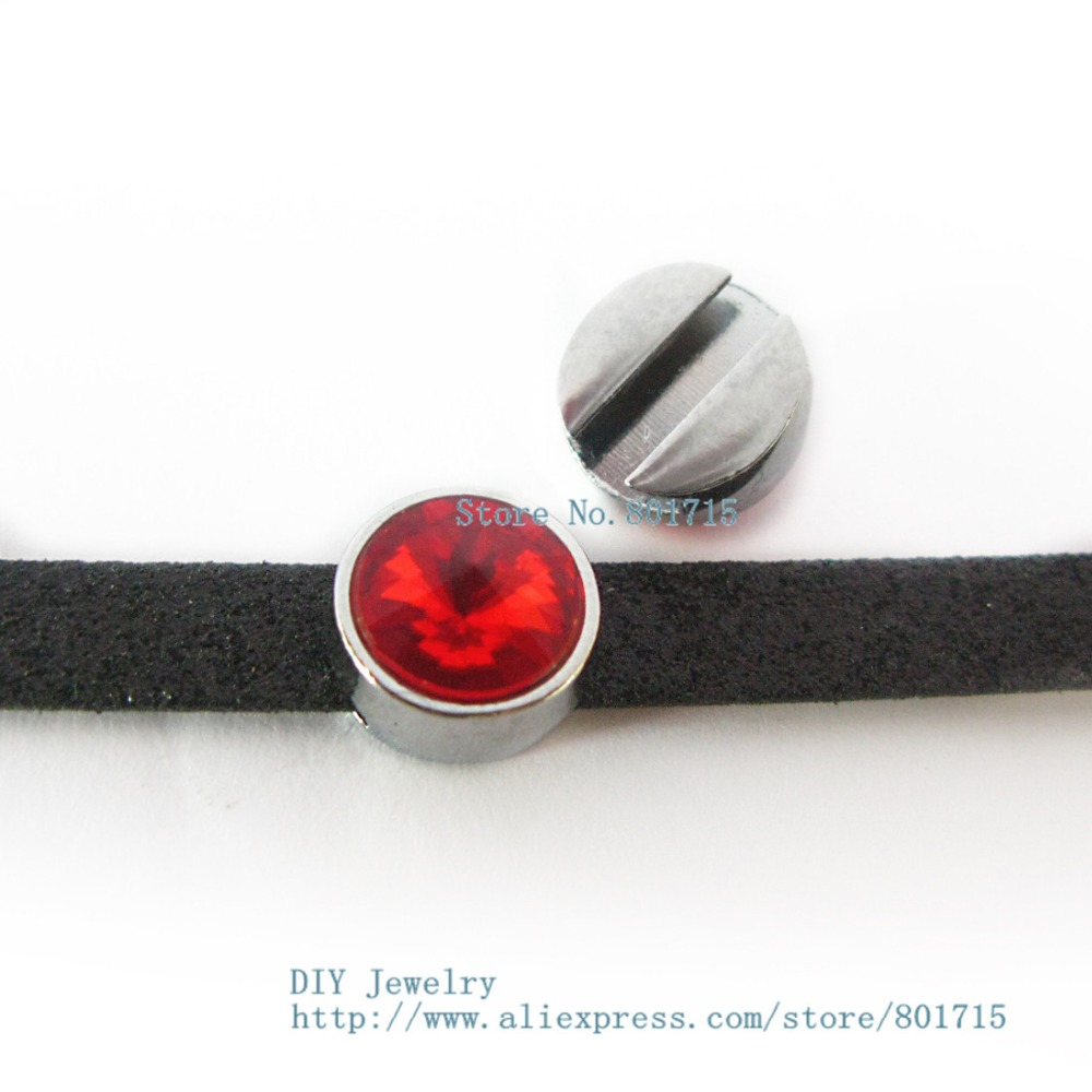 Brithday Gift birthstone--July-Red slide charms Internal Dia.8mm slide Charms Jewelry Finding fit 8mm wristband pet collar