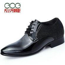 GOG Increase Height 7cm 2 76 inch Elevator Shoes black Dress Shoes Men Lifting Shoes Gentlemen