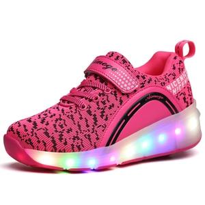 Image 5 - 子供グローイングスニーカースニーカーとホイールledライトアップローラースケートスポーツ発光点灯靴用ピンク