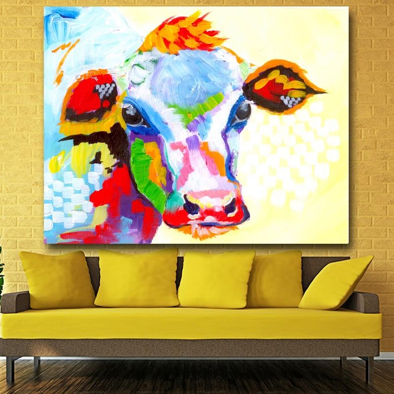 Berėmiai paveikslėliai Abstraktus karvės spausdinimas Tapyba - Namų dekoras - Nuotrauka 3