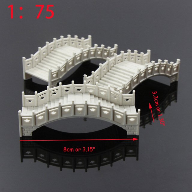 GY30 3pcs plastic arch h bridge White Chinese traditions 1:100 TT 1:75 OO Scale fairy garden accessories model building kit