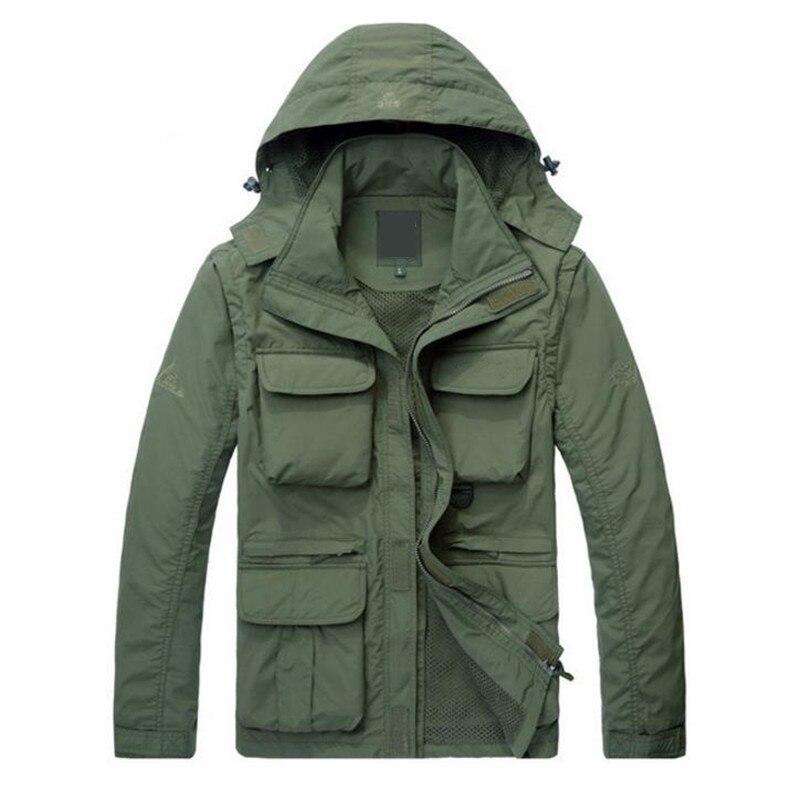 New Brand Outwear Waterproof Military Men Jacket Coat Hoodie Army Coat Jacket, Detachable Sleeve ...