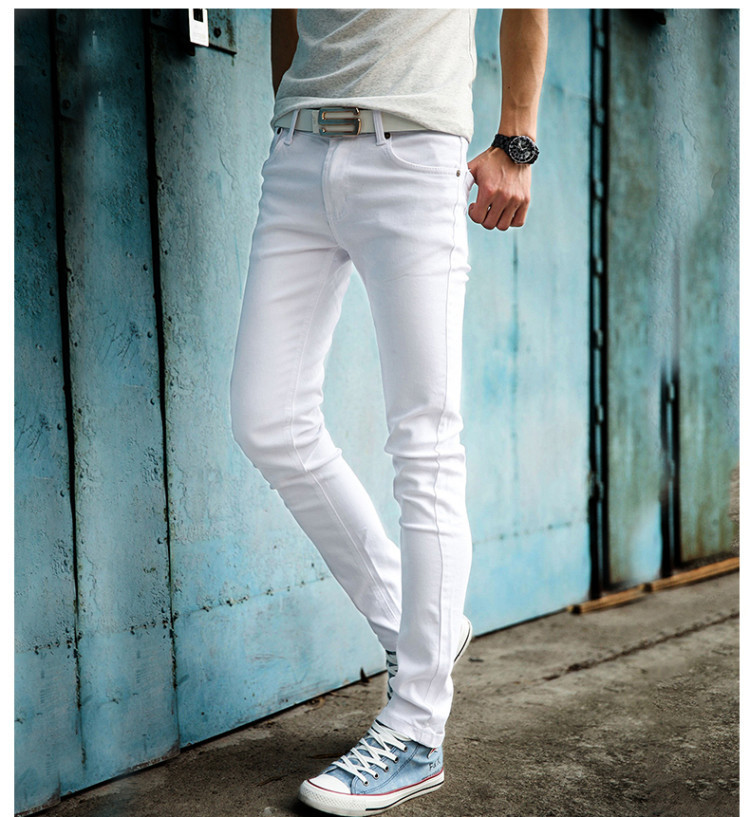 Summer Style Mens Casual Slim Fit Long Trousers Men Jeans Hombre Fashion Skinny White Jeans Men Streetwear Pencil Denim Pants