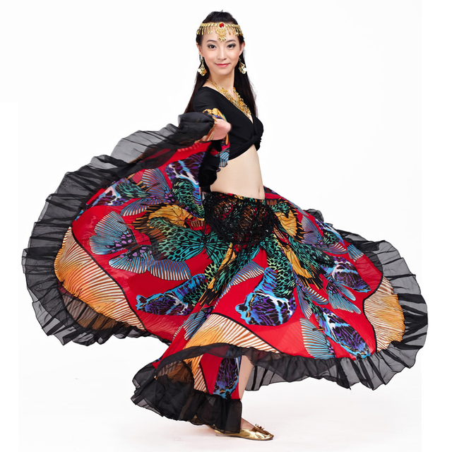 720 Degrees Tribal Belly Dance Performance Women Outfit 2 Pieces Set Top and Skirt Butterfly Pattern Full Circle Gypsy Costumes  1