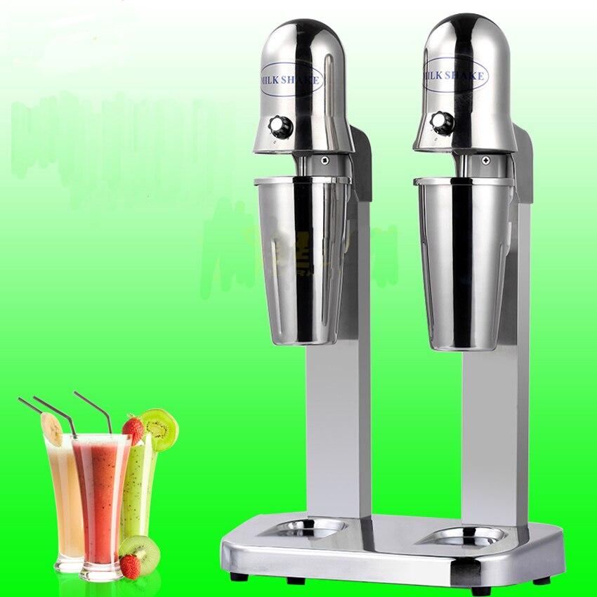 1 PC Double têtes lait secouer machine, mélangeur de lait, buveur mélangeur machine pour café maison, bar, magasin de boissons