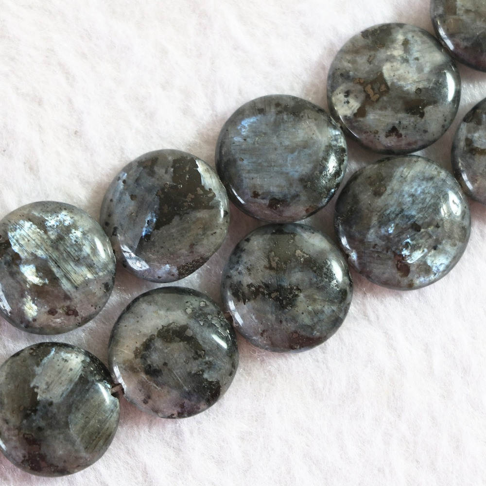 Natural labradorite stone 12mm 14mm 16mm 20mm coin button wholesale price loose beads hot sale diy jewelry making 15 inch B773